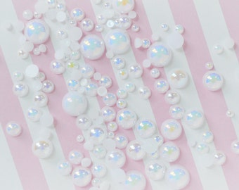 10mm-2mm Mixed Sizes AB Iridescent White Hemisphere Pearl - 200 piece set