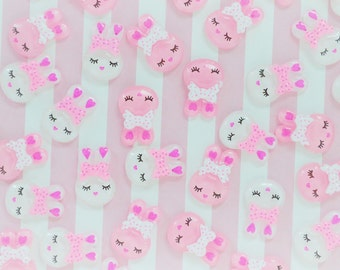 20mm Kawaii Pink Bunny Rabbit Flatback Resin Decoden Cabochon - 10 piece set