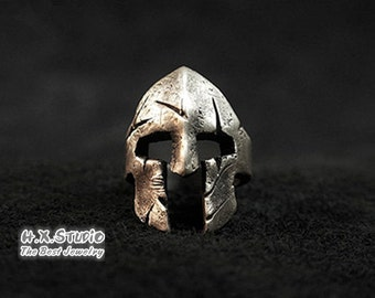 Handmade Silver Spartan Ring, Silver Warriors Helmet Ring, Spartan Helmet Ring, Open Ring, Wide Open Ring Band,  Wholesale Available