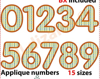 Applique number set. Machine embroidery design - INSTANT DOWNLOAD - 15 sizes each number. Numbers applique design. BX format