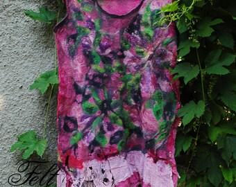 Summer clothes felt .Vintazhnaya tunic for summer .Sherst, gauze, lace, beads