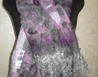 Felted scarf, Shawl from a thick felt, Merino wool, handwork, Sheep curls, kerikfelt.boho fashion, boho style ,vintage fashion ,nunofelting