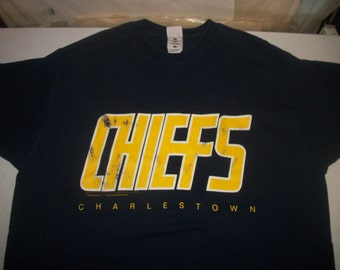 "SLAPSHOT movie t shirt ""Charlestown Chiefs"" 1996  2 sided"