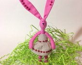 Little Pink Bunny Girl, Pocket toy, Pink Bunny in Linen Dress, 7'' with ears (18 cm)