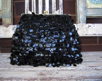 Vintage black sequence clutch/evening bag - 1960's