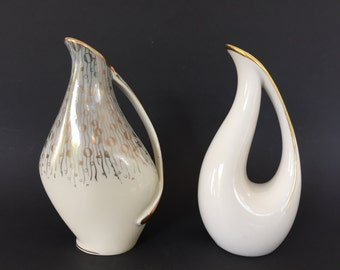 Alka - Kunst  /  Alboth & Kaiser Bavaria  and KM Royal Porcelain  vintage 1950s  Mid Century 2  vases  West Germany.
