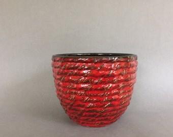 "Ü-Keramik / Uebelacker Ceramic red ,, Beehive"" planter, stunning Vintage  1970s Mid Century  West Germany Pottery. WGP."
