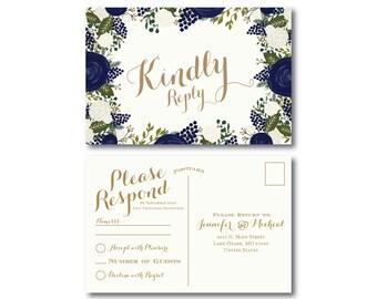 Vintage Wedding RSVP Postcard, Fall Wedding, Vintage Floral, Floral Wedding, Vintage Wedding, RSVP Postcard, Wedding Postcard, RSVP #CL128