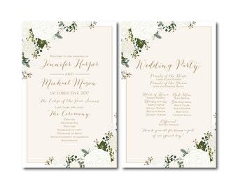 PRINTABLE Wedding Program, Ceremony Program, Order of Service Program, Wedding Party Program, Ceremony Order of Service #CL177
