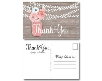 Rustic Thank You Postcard, Wedding Thank You Postcard, Thank You Card, Rustic Wedding, Mason Jar Thank You Postcard, Rustic Thank You #CL219
