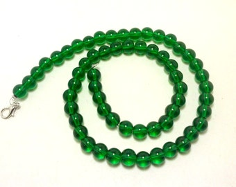 SHOP CLOSING SALE - Emerald Green Necklace with 8 mm Round Glass Beads