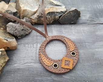 Leather necklace. Tribal necklace. Brown leather necklace. Pendant necklace. Boho necklace. Leather choker. Pendant choker.Boho chic.