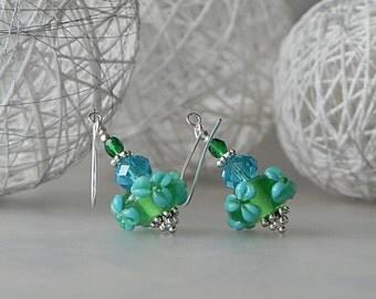 Green Flower Earrings Floral Lampwork Drop Dangle Earrings Flower Earrings Blue Earrings Colorful Earrings Lampwork Floral Glass Earrings