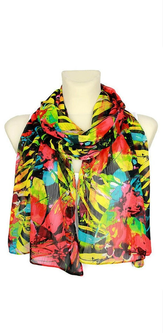 Women Fashion Scarf - Gift For Her - Christmas Stocking Stuffer - Rainbow Floral Scarf Gift Idea for Women