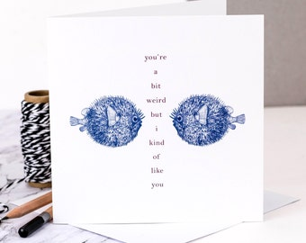 Funny Love Card; You're Weird Card; Funny Valentines Card; Cheeky Love Card; Personalised Card; Card For Boyfriend; Weirdo Card; GC333