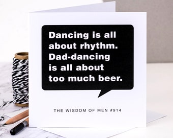 Funny Birthday Card For Dads; 'Dad Dancing'; Card For Dads; Dad Card; Daddy Card; Card For Men; GC109