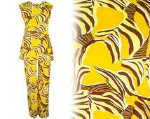 1950 Small Pant Suit Lounge Novelty Costume Print Animal Mod Palm Springs Zebra Safari Set Atomic Hawaii Kitsch Retro Pin Up Tribal African
