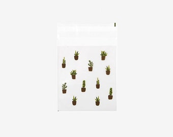 Succulent Clear Gift Bag with Sticky Seal - 10pk   DailyLike Korean Style Packaging Goods 11cm x 10cm (DSBS02)