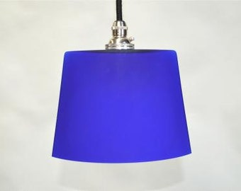 Small vintage handmade Italian blue glass ovoid pendant light hanging lamp SR4