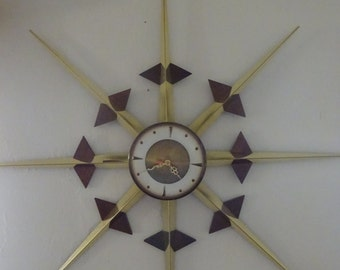 Large Mid Century Modern Welby Atomic Sunburst/Starburst Wall Clock   FREE SHIPPING