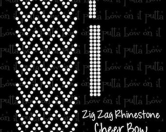 Zig Zag ss10 Rhinestone Cheer Bow Strip Template