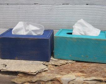 Kleenex Tissue Box Covers Blue and Aqua (2) Handmade Natural Upcycled Wood Rustic Shabby Chic Bathroom Decor