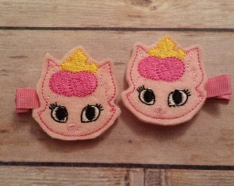 cat princess hair clips