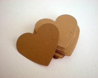 25, 50, 75, 100 kraft medium hearts - kraft- weddings, bridal showers - heart die cuts