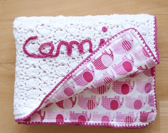 Summer blanket for baby girl, crochet in cotton with fabric, reversible and personalizable, Mod. CAMILLA