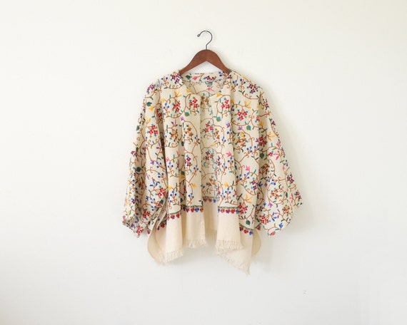 Vintage floral kimono cardigan fringe embroidered