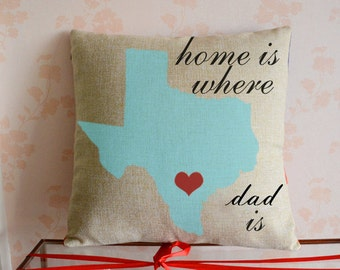 Personalized US Map Pillow Case Two States With Hearts - Us map pillow personalized