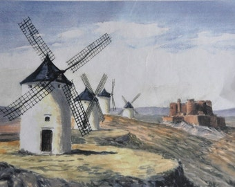 Thin Rice Paper for Decoupage. Decorative Paper. Scrapbooking Paper. Scenery of windmills #P087G