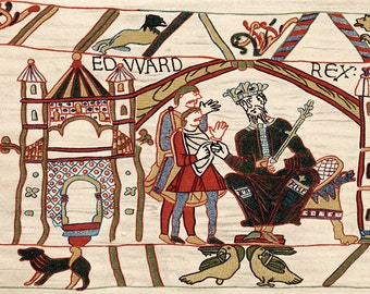 Edward The Confessor. Anglo-Saxon King of England from 1042. Edward on his Throne. Bayeux Tapestry. Fine Art Print/Poster. (003658)