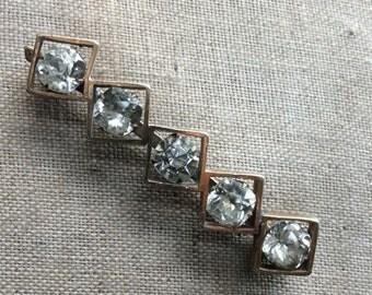 Vintage Diamante Deco Brooch