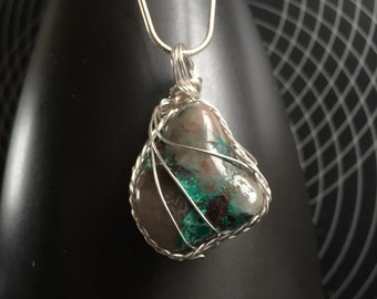 Chrysocolla in Quartz 925 Sterling Necklace