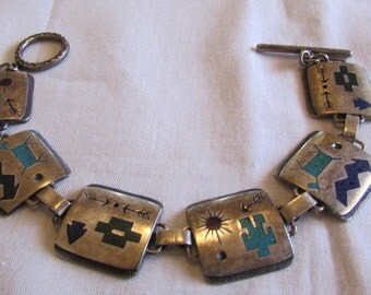 Sterling Silver and Chip Inlay Southwest Toggle Bracelet