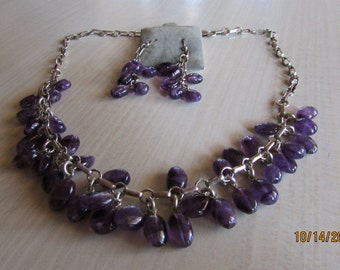 Sterling silver and Amethyst Neckace and Earrings