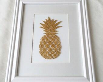 Gold Glitter Pineapple Art