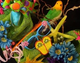 Contact Me to Order,Beach Wreath, Nautical Wreath,Tropical Wreath, Beach Decoration, Spring Wreath,Beach Ornaments,Beach Decor