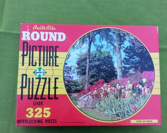 "Vintage ""Glory of Spring"" Floral Tulips Diamond-Lock ROUND Picture Puzzle 325 pc Jigsaw Interlocking"