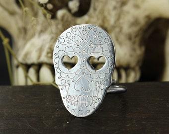 Sugar skull ring - Skull ring - Dia de la muerte ring - Mexican skull ring - Handmade