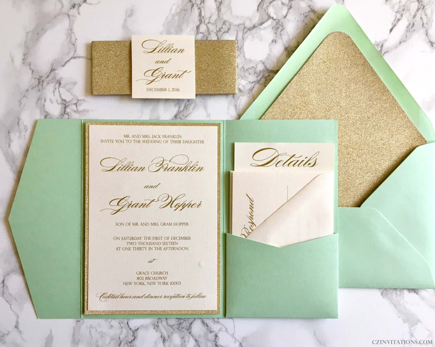 mint and gold glitter pocket wedding minted wedding invitations Mint and Gold Glitter Pocket Wedding Invitations with Glitter Belly Band Mint Wedding Invitation with Glitter Gold and Mint Invitations