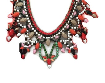 BURNED TANGELLO inspired by Diane Von Furstenburg hand painted rhinestone statement bib necklace