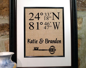 Our First Home   Personalized Housewarming Gift   House Warming Gift, Family Name Sign, Home Address Sign, Burlap New House (latlong201)