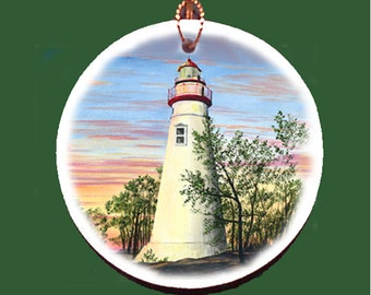 Summer at Marblehead Lighthouse Holiday Ornament