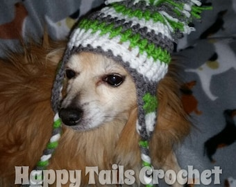 Crocheted dog hat with earflaps