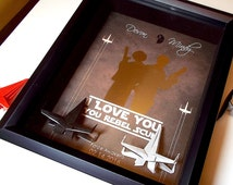 Star Wars Paper Anniversary Gift For Him, Her | Gift For Boyfriend, Gift For Husband, Gift For Her, Gift For Wife. 8X10 Frame, X Wing Figure