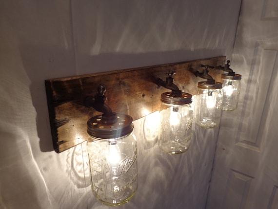 Mason Jar Vanity Light How To : 4jar Handmade Rustic Mason Jar Vanity Light Fixture