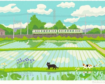 Cat illustration A3 Print, Train and Cats and wind of May,Wall decor, ,Art poster