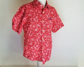 Cole Kennet shirt 1970's/shirt '70s/red shirt 1970s/ Flowered shirt